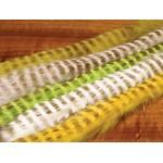 Hareline Olive Barred Magnum Rabbit Strips #54 Chartreuse