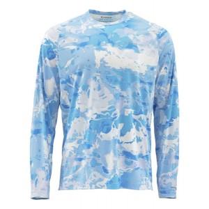 Simms SolarFlex Crewneck Shirt - Cloud Camo Blue