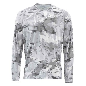 Simms SolarFlex Crewneck Shirt - Cloud Camo Grey