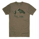Simms Trout Hex Flo Camo T-Shirt - Olive Heather